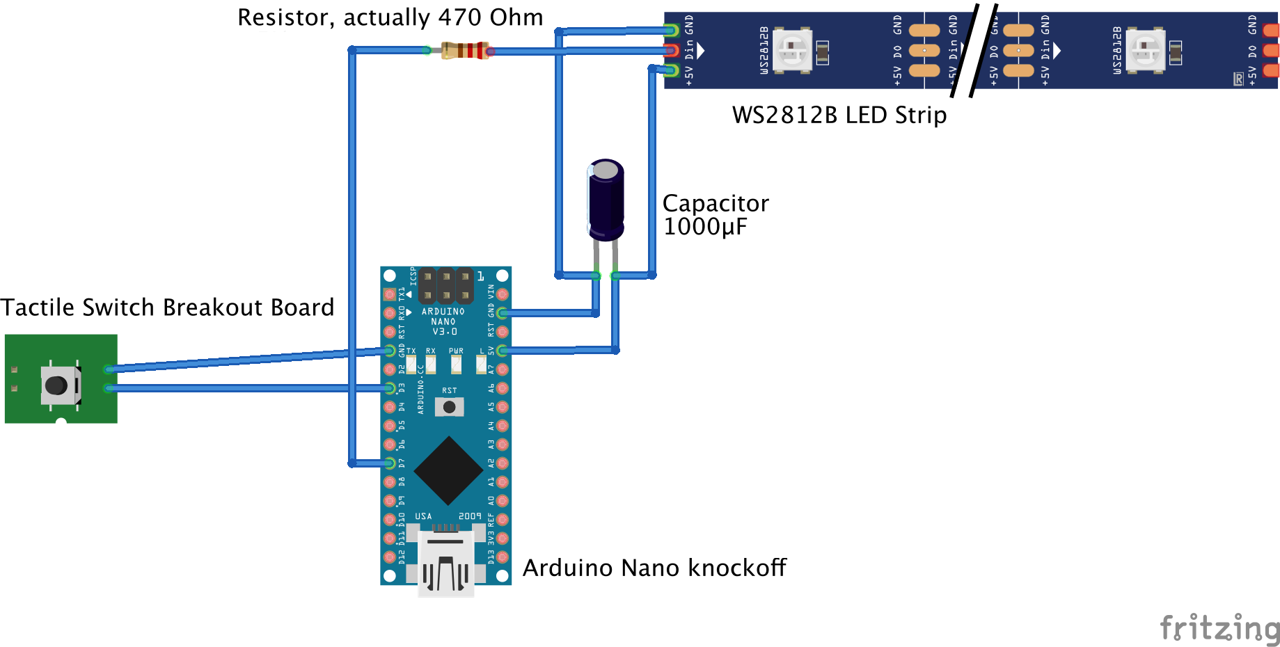 Diagram of Arduino Nano and where each of the parts is connected