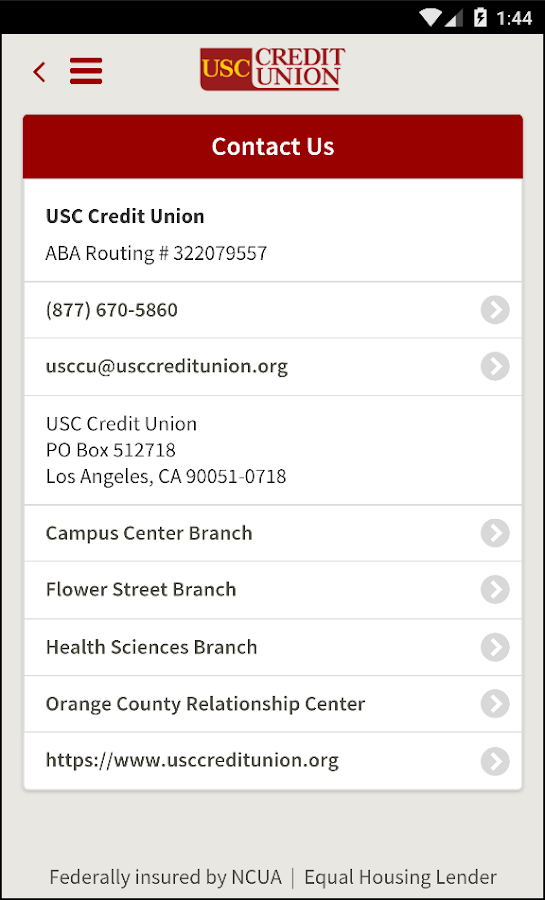 USC Credit Union Mobile- screenshot