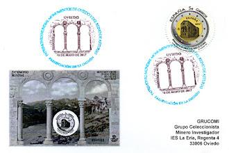 Photo: Tarjeta del matasellos de presentación del sello de la Hoja Bloque de Monumentos de Oviedo y el Reino de Asturias Patrimonio de la Humanidad