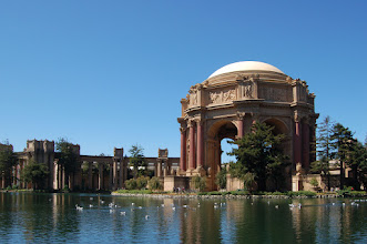 Photo: Requirement 2 (No vertical vanishing point): The Palace of Fine Arts in San Francisco -- an incredible architectural structure, set against the backdrop of a perfectly blue sky. Shot at f/7.1, 1/500, the photo has enough light to capture the incredible blue hue of the sky, and the colors and textures of the architecture, sky, and lake stand in nice contrast to one another. This photo is adjusted to eliminate the vertical vanishing point, by transforming the perspective in Photoshop to make the vertical lines appear parallel in the photo. I placed the structure off-center and not zoomed-in too closely to show the surroundings of the architecture; the water, geese, and green emphasize the somewhat oasis-feel of this area. No other post-processing.