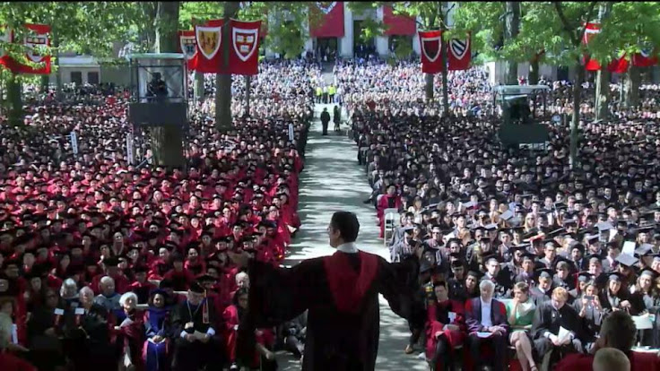 Harvard Commencement from the speaker's stage.