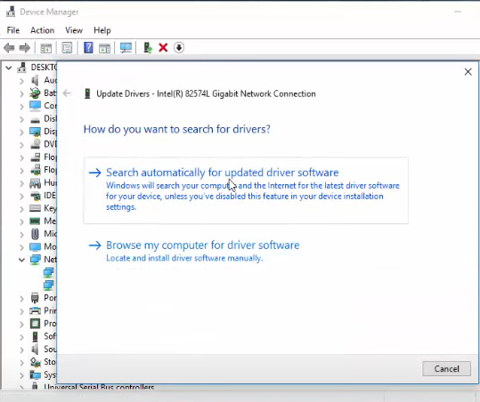 """A pop-up window will come up. Click on """"Browse my computer for driver software"""" (Manual mode). This will let you manually point towards the driver updates you downloaded earlier."""
