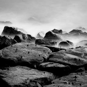 Rocks  by Kai Jian - Landscapes Waterscapes ( labrador park, black and white, long exposure, rocks, singapore )