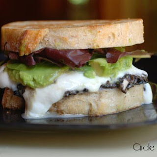 Grilled Mozzacado Sandwich with Mushroom-Goat Cheese Tapenade.