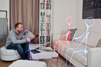 Photo: A luminous meeting  Wondering what I am doing tonight as a light painter ?  Well, I am having a chat with the light characters I created. Talking about past and coming photo shoots. That does mean that new light paintings are coming ! And maybe a making of ^^