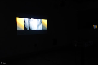 """Photo: """"Remnant III,"""" Projection of Remnants Series, four video projections, hd video and digital transfer of 16mm b/w film. UofC DoVA MFA critique, 12-06-2012. mgf"""