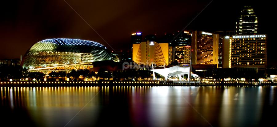 The Esplanade by Felix Choo - City,  Street & Park  Skylines ( skyline, tourism, shopping centres, travel, marina bay, singapore, hotels, city, lights, theatre, night, esplanade, river )