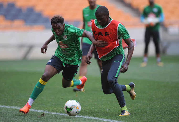 Bafana Bafana players Lebo Mothiba and Thamsanqa Mkhize play in opposing sides during the South Africa training session on the October 2, 2017 at FNB Stadium.