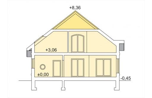 Agio wersja B z podwójnym garażem - Przekrój