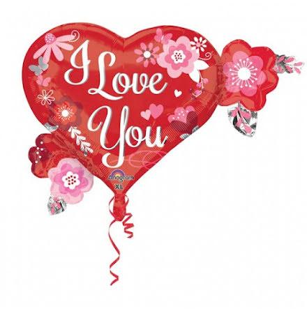 Folieballong Hjärta med blommor