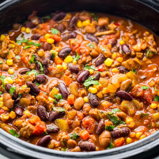 Comforting Slow Cooker Turkey Chili.