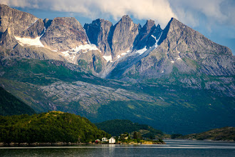 Photo: The peaks of Beiartindene, rising up above a fjord South of Bodø in Norhern Norway.