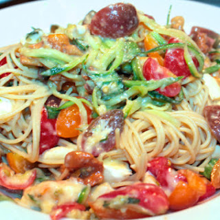 Brie, Tomatoes & Chanterelles with Zucchini Noodles & Protein Pasta