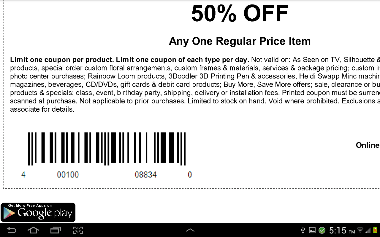 coupons for michaels screenshot
