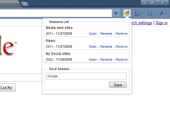 Session Manager Screenshot