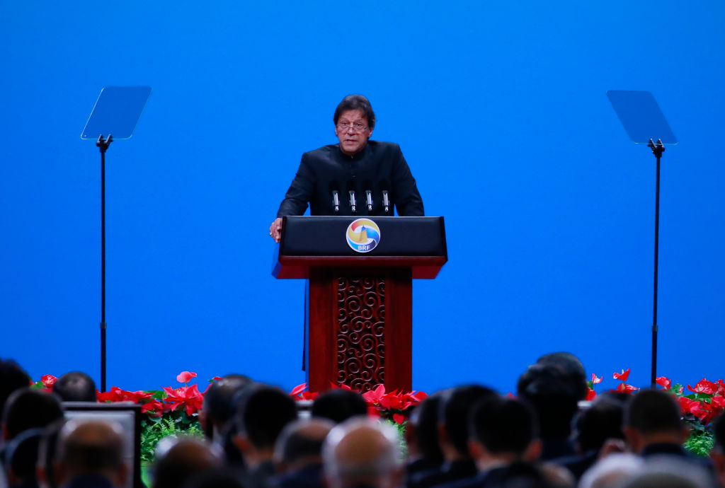 "Pakistani Prime Minister Imran Khan delivers his speech for the opening ceremony of the Belt and Road Forum for International Cooperation (BRF) April 26, 2019 in Beijing, China. Controversy in the Pakistan Senate Chairman election was linked to ""Chinese spy cameras"" found in the secret ballot booth where Senators were to cast their ballot for the next Chairman."