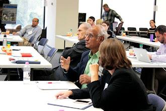 Photo: Muni Muniappan asks a question of the biological stressors panel.