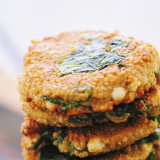 Crispy, Cheesy, Mixed Green Quinoa Cakes (Gluten Free)