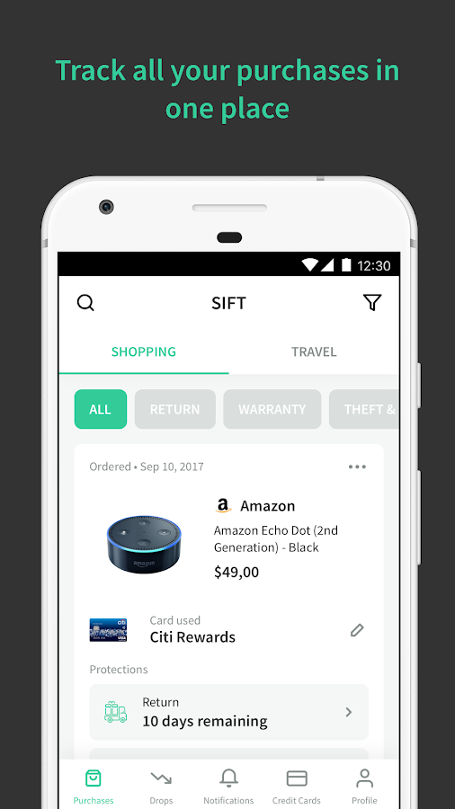 Sift - Get Automatic Refunds When Prices Drop- screenshot