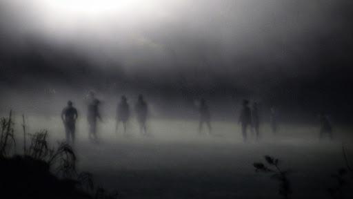 figuras humanas demabulando en la niebla