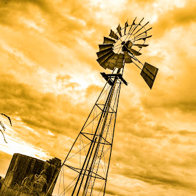 The Windmill  by Hush Naidoo - Artistic Objects Industrial Objects ( water, wind, sunset, landscape, windmill )