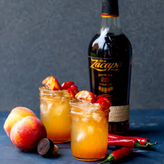 Rum and Peach Cocktail with Chilli Syrup.