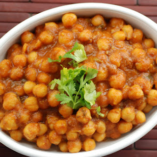 Indian Chickpea Curry with Mango Powder.