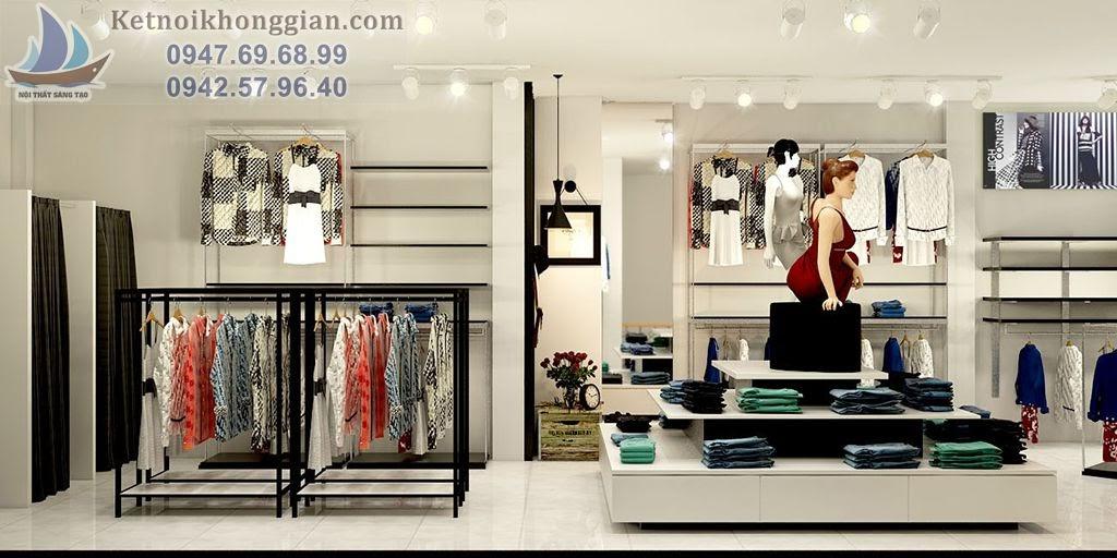 thiết kế cửa hàng thời trang với phụ kiện hợp lý