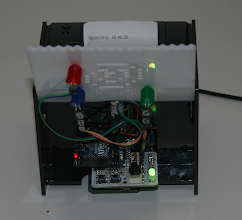 Photo: RiderNet of Things 'with the hood up', showing it's Mega 2560 and XNP Forward Mega Shield (used instead of the Ethernet Shied) and the packet lights I attached to the front cover
