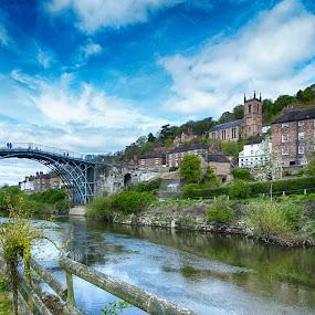 Ironbridge by Simon Alun Hark - Landscapes Waterscapes ( water, church, ironbridge, grass, telford, iron, heritage, severn, england, bridge, town, shropshire, world, river )