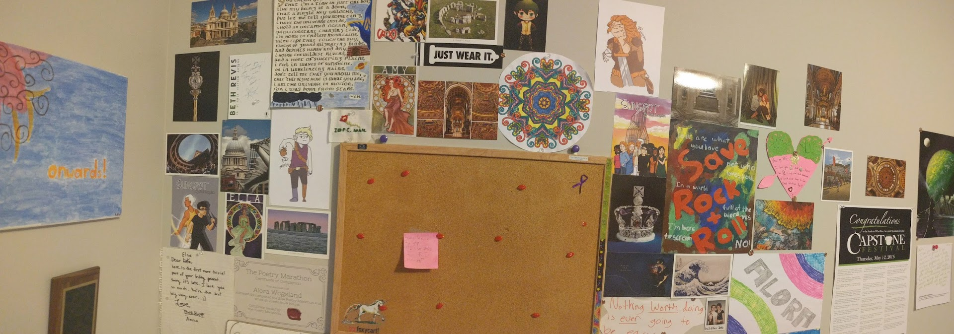 Panorama picture of my art wall