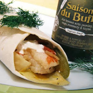 Dogfish Shrimp And Stir Fried Cabbage Fajitas With Sour Cream Dill Sauce.