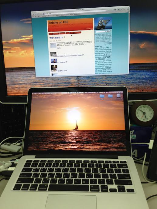 OS X 10.9 매버릭스에서 듀얼모니터를 같은 작업공간으로 만들기