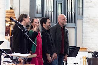 Photo: Katharina Weyer-Spillmann, Flöte Thomas Braun, Violine   Andreas Gomoll, Gitarre/Akkordeon  Enrique Marcano González, Kontrabass  Nikolaikirche Rostock
