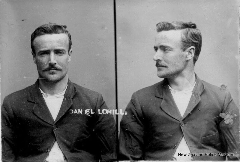 Photo: Daniel Lohill (b. 1883, New Zealand). Charged with theft and sentenced to 4 months on 2 March 1908 (Napier). Previous convictions for theft. Photograph taken on 11 June 1908.