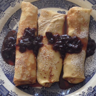 Sweet Cheese Crepes with Cherry Topping.