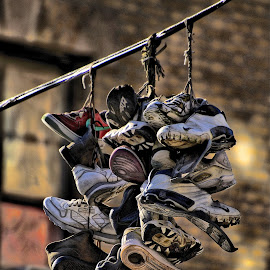 Shoe on a line by Wendell Kennedy - Artistic Objects Clothing & Accessories ( , hdr )