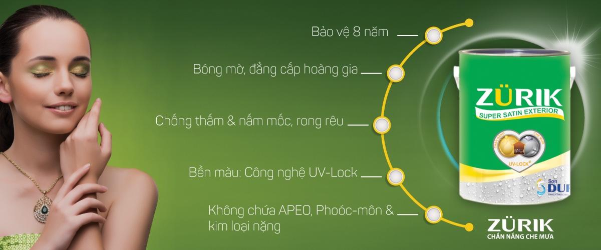 Sơn Zurik Super Satin - Bóng mờ Satin