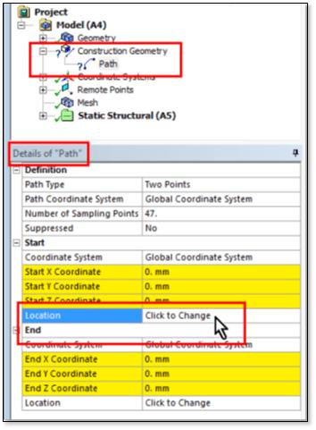 ANSYS Для задания местоположения начальной точки нажмите на надпись «Click to Change»