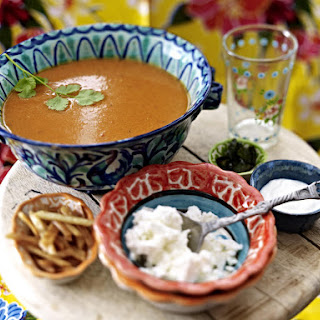Spicy Polenta Soup with Fried Tortillas