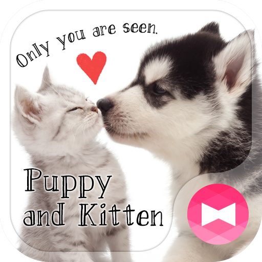 Cute Theme Puppy and Kitten Icon