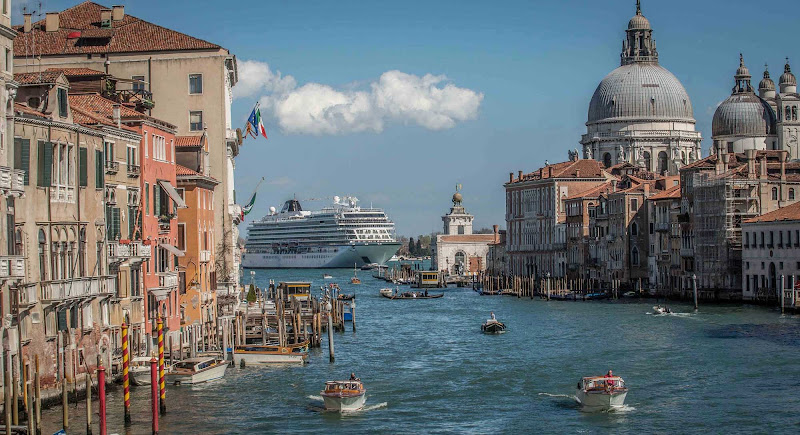 Viking Star seen from the Grand Canal in Venice.