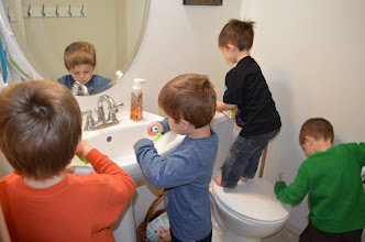 Photo: It was SO cute - the boys immediately ran into the bathroom and all started brushing their teeth!