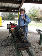 Photo: Doug Blodgett drinking up while preparing to steam up