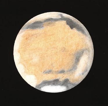 Photo: Mars le 15 février 2010 à 18H25TU, au T406 à 350X en bino,  filtre rouge. Turbu médiocre.