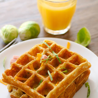 Savory Waffles with Ham, Cheddar and Brussels Sprouts.