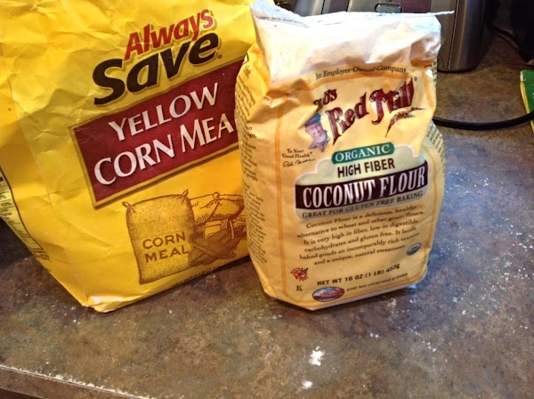 Preheat oven to 400 degrees F. Combine corn meal, coconut flour, baking powder, sugar...