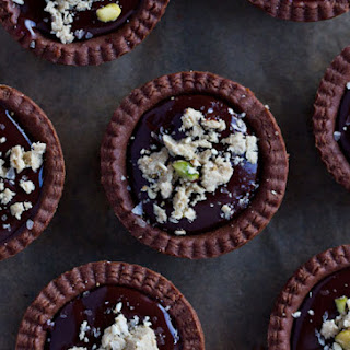 Mini Chocolate Tarts with Pistachio Halvah and Sesame Salt
