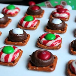 Chocolate Kiss Pretzel Bites.