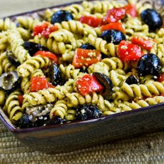 Recipe for Easy Pesto Pasta Salad with Olives and Roasted Red Peppers.